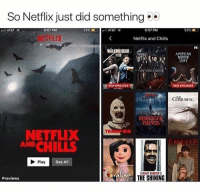 "Netflix, The Shining, and At&t: So Netflix just did something  ''ll AT&T  6:57 PM  53%.1  il AT&T  6:57 PM  53%  汀FLIX  Netflix and Chills  FX  WALKING DEAD  OAMERICAN  Vampire Dian  NEW EPISODES  NEW EPISODES  ck灼URING  STI  THINGS  NETFLIX  AND CHILLS  TERR. ""  Play  See All  STANLEY KUBRICK'  THE SHINING  Previews #Netflix not playing around this month #NetflixandChills 👀👻"