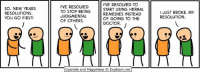 Dank, New Year's Resolutions, and Cyanide and Happiness: SO, NEW YEARS  RESOLUTIONS.  YOU GO FIRST!  I'VE RESOIVED TO  I'VE RESOWED  START USING HERBAL  TO STOP BEING  REMEDIES INSTEAD  JUDGMENT AL  OF GOING TO THE  OF OTHERS.  DOCTOR.  Cyanide and Happiness O Explosm.net  I JUST BROKE MY  RESOLUTION.