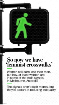 """That Wasnt Very Cash Money Of You: So now we have  """"feminist crosswalks  Women still earn less than men,  but hey, at least women are  in some of the walk signals  in Melbourne, Australia  The signals aren't cash money, but  they're a start at reducing inequality  STOCK"""