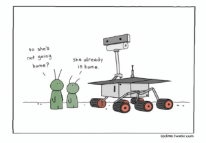 Memes, Tumblr, and Thank You: so she's  not going  home?  she already  is home.  lizclimo.tumblr.com thank you #opportunity