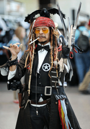 So, some guy decided to cosplay as Johnny Depp's character in a movie - ALL of them.: So, some guy decided to cosplay as Johnny Depp's character in a movie - ALL of them.