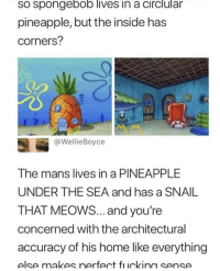 "Fast Food, Food, and Memes: so spongebob lives in a circlular  pineapple, but the inside has  corners?  @WellieBoyce  The mans lives in a PINEAPPLE  UNDER THE SEA and has a SNAIL  THAT MEOWS... and you're  concerned with the architectural  accuracy of his home like everything  else makes nerfect ficking sense <p>they even made a lifestyle working at a fast food restaurant!! via /r/memes <a href=""https://ift.tt/2GadDXu"">https://ift.tt/2GadDXu</a></p>"