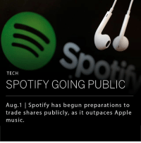 "Spotify, the popular music streaming service, is preparing to go public. The company has added 10 million premium users since March, amounting to 60 million subscribers. It's main competitor, Apple Music, is growing at a much slower pace with nearly 27 million paid users. __ Spotify will likely go public with a ""direct listing,"" rather than an IPO, in which the company would simply register its shares on a public exchange and let them trade freely without an initial price per share.: So  TECH  SPOTIFY GOING PUBLIC  Aug.1 