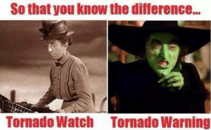 Funny Wizard Oz Memes: So that you know the difference...  Tornado Watch  Tornado Warning Funny Wizard Oz Memes