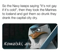 "Drunk, Memes, and Capital: So the Navy keeps saying ""it's not gay  if it's cold"", then they took the Marines  to Iceland and got them so drunk they  drank the capital city dry.  Kowalski, analysis Wait a minute 🤔 RIP to those Marines buttholes"