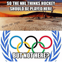Memes, 🤖, and Grow: SO THE NHL THINKS HOCKEY  SHOULD BE PLAYED HERE  ef logic  @nhl BUT NOT HERE What better way to grow the sport than to ban the best players in the world from playing on the Olympic stage. Fucking idiot Bettman - olympics teamusa teamcanada nhl hockey