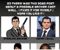 SO THeRe WaS THIS 9GaG POST  aBOUT a PosSIBLE aRCHeR CaST.  WeLL...I FIXeD IT FOR mYSeLF  HOPe YOU LIKe IT!  STeRLING aRCHeR  HAR I heard you like archer.. so may you like this :) view full --> http://yourlad.com/?p=446