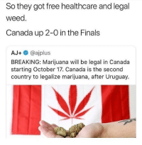And ppl actually civilized there... they up 3 @larnite • ➫➫➫ Follow @Staggering for more funny posts daily! • (Ignore: memes like4like funny music love comedy me goals): So they got free healthcare and legal  weed.  Canada up 2-0 in the Finals  AJ+ @ajplus  BREAKING: Marijuana will be legal in Canada  starting October 17. Canada is the second  country to legalize marijuana, after Uruguay. And ppl actually civilized there... they up 3 @larnite • ➫➫➫ Follow @Staggering for more funny posts daily! • (Ignore: memes like4like funny music love comedy me goals)