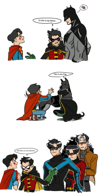 Target, Tumblr, and Twitter: So this is my father...   This is my dog.   And these are my sidekicks. 19260804:  Supersons +__+https://twitter.com/13thdisciple_/status/923073537690296320