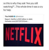 "Memes, Netflix, and Help: so this is why they ask ""Are you still  watching?""...This whole time it was a cry  for help  The FADER@thefader  Report: Netflix is $20 billion in debt.  thefader.com/2017/07/31/net...  NETFL okay for real stop reporting us for self harm we don't self harm and waking up to the message everyday is annoying. report someone who deserves it. -holly"