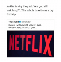 """Netflix could have saved so much money by not making """"13 reasons why"""" 😫 and also """"friends from college"""" (I'm okay if this becomes the place where we comment our least favourite Netflix originals): so this is why they ask """"Are you still  watching?""""...This whole time it was a cryy  for help  The FADER @thefader  Report: Netflix is $20 billion in debt.  thefader.com/2017/07/31/net...  NETFL Netflix could have saved so much money by not making """"13 reasons why"""" 😫 and also """"friends from college"""" (I'm okay if this becomes the place where we comment our least favourite Netflix originals)"""