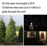 Santa's good boi: So this year we bought a 20 ft  Christmas tree and cut it in half so it  goes through the roof Santa's good boi