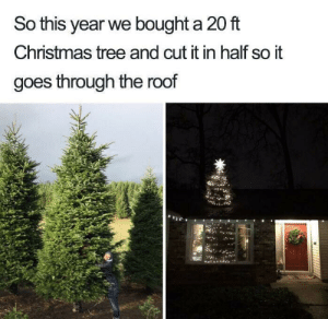Santa is gonna trip on that thing: So this year we bought a 20 ft  Christmas tree and cut it in half so it  goes through the roof Santa is gonna trip on that thing