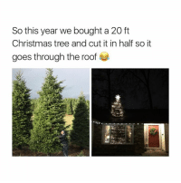 Christmas Tree, Girl Memes, and Roofing: So this year we bought a 20 ft  Christmas tree and cut it in half so it  goes through the roof when I'm a parent this is the type of extra I'm tryna be during Christmas