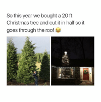 Memes, Christmas Tree, and Trees: So this year we bought a 20 ft  Christmas tree and cut it in half so it  goes through the roof Hahaha tag a friend