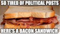 SO TIRED OF POLITICAL POSTS  HERES A BACON SANDWICH