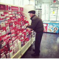 """Birthday, Old Man, and Valentine's Card: """"So today I was in Hallmark buying my mom a Happy Birthday card when I noticed this old man standing in front of the Valentines card section contemplating which one to get. I decide to go over and I ask him """"Are you getting a Valentine's Day for your wife?"""" in which he replies 'No my wife died 3 years ago from breast cancer but I still buy her roses and a card and bring them to her grave to prove to her that she was the only one that will ever have my heart'"""" -Ravi Patel"""