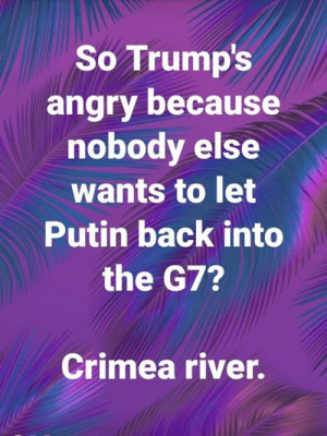 Tell them you found it at Rude and Rotten Republicans: So Trump's  angry because  nobody else  wants to let  Putin back into  the G7?  Crimea river. Tell them you found it at Rude and Rotten Republicans