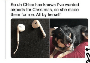 I need a Chloe in my life: So uh Chloe has known l've wanted  airpods for Christmas, so she made  them for me. All by herself I need a Chloe in my life