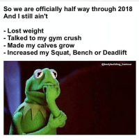 Crush, Gym, and Lost: So we are officially half way through 2018  And I still ain't  - Lost weight  Talked to my gym crush  Made my calves grow  - Increased my Squat, Bench or Deadlift  @bodybuilding humour 2019 is the year 😜