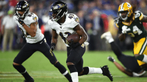 So what if he's in a crowded backfield?  This @Ravens rookie RB has star potential written all over him. (via @BaldyNFL) @jhill21_ https://t.co/WDPFVhYP3G: So what if he's in a crowded backfield?  This @Ravens rookie RB has star potential written all over him. (via @BaldyNFL) @jhill21_ https://t.co/WDPFVhYP3G