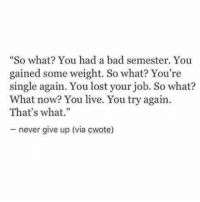 "Bad, Lost, and Live: ""So what You had a bad semester. You  gained some weight. So what? You're  single again. You lost your job. So what?  What now? You live. You try again  That's what.""  never give up (via cwote)"