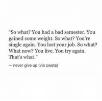 "Bad, Lost, and Live: So what? You had a bad semester. You  gained some weight. So what? You're  single again. You lost your job. So what?  What now? You live. You try again  That's what.""  never give up (via cwote)"