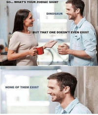 Ass, Dinosaur, and Dumb: SO... WHAT'S YOUR ZODIAC SIGN?  DINOSAUR  BUT THAT ONE DOESN'T EVEN EXIST  NONE OF THEM EXIST Dumb ass