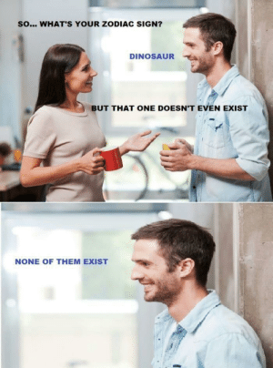 Dinosaur, Life, and Tumblr: SO... WHAT'S YOUR ZODIAC SIGN?  DINOSAUR  BUT THAT ONE DOESN'T EVEN EXIST  NONE OF THEM EXIST memehumor:  They just have zero bearings in your life