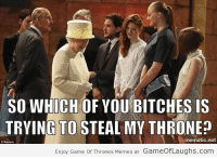 Game of Thrones, Memes, and Queen Elizabeth: SO WHICH OF YOU BITCHES IS  TRYING TO STEAL MY THRONE?  mematic.net  Enjoy Game Of Thrones Memes at GameofLaughs.com Queen Elizabeth 2 won't share her throne with anyone! - Game Of Thrones Memes