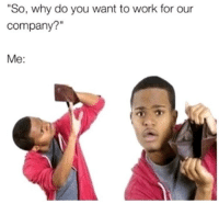 "Memes, True, and Work: ""So, why do you want to work for our  company?""  Me: True"