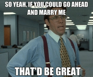 20 Proposal Memes For Couples #sayingimages #proposalmemes #proposalmeme #funnymemes #memes #meme: SO YEAH, IF YOU COULD GO AHEAD  AND MARRY ME  THAT'D BE GREAT  quickmeme.com 20 Proposal Memes For Couples #sayingimages #proposalmemes #proposalmeme #funnymemes #memes #meme