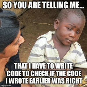 A day in the life of a programmer: SO  YOU  ARE  TELLING  ME.  THAT I HAVE TOWRITE  CODE TO CHECK IFTHE CODE  I WROTE EARLIER WAS RIGHT  imgflip.com A day in the life of a programmer