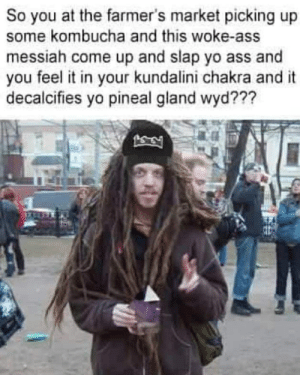 pineal gland: So you at the farmer's market picking up  some kombucha and this woke-ass  messiah come up and slap yo ass and  you feel it in your kundalini chakra and it  decalcifies yo pineal gland wyd???