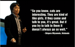 "This is a real quote: ""So you know, cats are  interesting. They are kind of  like girls. If they come and  talk to you, it's great. But if  you try to talk to them it  doesn't always go so well.""  -Shigeru Miyamoto, Nintendo This is a real quote"