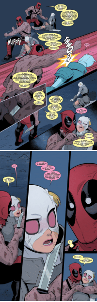 "chefpyro:  This pause in the fight actually highlights an important difference between Deadpool and Gwenpool. They both acknowledge their existence as comic book characters and utilize their knowledge of the internal rules of their comic book world to their advantage, but Gwen is the only one of the two with the idea to rebel against the Powers That Be, where Deadpool is fine just playing out the story. This difference later on leads into Gwenpool's rejection of her evil future self, when she knowingly erases her future heel turn so she won't have to hurt her heroes as a villain. Cool stuff. : SO YOu  KNOW YOu'RE  IN A COMIC  BOOK.  COMIC BOOK, EVEN  AND YOU THINK THAT  GIVES YOu SPECIAL  PROTECTI N. WHAT?  BECAUSE YOU'RE  POPULAR?  WELL,TVE  NEVER HEARD  OF YOu.  YOuR NAME IS  GWEN? GuARANTEE  ANYONE WHO DOESN'T READ  THIS THINKS YOU'RE  GWEN STACY.  WA  DO YOu  KNOW WHO'S HEARD  OF MEP  вин!  EVERYONE.  エHAVE  HAD HUNDREDS F  issuES. DON'T KNOW  HOW MANY SERIES. GUEST-  APPEAR EVERYWHERE, COMICS  VIDEO GAMES. TV SHOWS.  AND SO MUCH  MERCHANDISE  AND NEVER  FORGET..  THE  HIGHEST-  GROSSING  R-RATED FILM  OF ALL  TIME  FIRST  APPEARED  AS A BACKUP IN  HOWARD THE  DUCK.  YOU  HOWEVER..  BECAUSE  THEY WEREN'T  SURE IF ANYONE  WOULD LIKE  You  OH  GOD, YOU'RE  RIGHT.  YOU ARE  THE LAST  PERSON WHO  CAN KILL  ME.  ANYWAY...  IT FEELS  FITTING THAT AM THE  HAND OF YOUR CANCELATION  BYE-BYE, ""GWEN""  POOLE.""   IF You'RE SO  POWERFUL...  WAIT  IF YOu  KNOW ALL THIS...  STUFF...  THEN  WHY ARE YOL  TRAPPED BY ARCADE?  WHY ARE YOU JUST  PLAYING OUT THIS  STORY?  RIGHT  LAST WORDS  GO FOR IT  BECAUSE...  WE ALL  JUST LIVE HERE.  DON'T WE? chefpyro:  This pause in the fight actually highlights an important difference between Deadpool and Gwenpool. They both acknowledge their existence as comic book characters and utilize their knowledge of the internal rules of their comic book world to their advantage, but Gwen is the only one of the two with the idea to rebel against the Powers That Be, where Deadpool is fine just playing out the story. This difference later on leads into Gwenpool's rejection of her evil future self, when she knowingly erases her future heel turn so she won't have to hurt her heroes as a villain. Cool stuff."