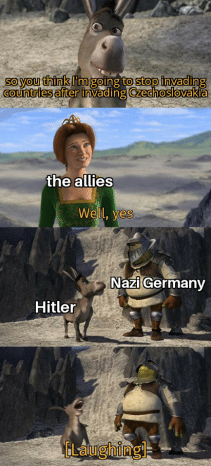Germany, History, and Hitler: So you think Im going to stop invading  COuntries after invading Czechoslovakia  the allies  Well, yes  Nazi Germany  Hitler  ELaughing Ha that ain't happening
