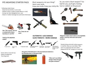 "Bad, Club, and Fucking: So, you want a blunt weapon? Too  bad for you, you'll get a fucking  Blunt weaponry not your thing?  Here's your knife.  Enjoy your knife. Enjoy your shitty life. tool or rubbish on the ground.  FPS WEAPONS STARTER PACK  1  Following melee lineup:  - Weak but fast (Knife or some shit)  - Medium attack, medium speed (Baton or club)  - Strong, but slow (Sledgehammer, axe)  - Weak or medium damage but automatic (Chainsaw)  ihe  Husqvarna  Dev: This is great, and not  a cumbersome heavy  Dev: These do not  exist!  boombox in real life!  AUTOMATIC= LESS DAMAGE  Magazine snipers don't exist or are laughably  weak in contrast with their bolt-action  SLOW FIRERATE = MORE DAMAGE  TYPICAL FPS WEAPON  brothers  LINEUP  Despite being extremely lethal weapons  in real life, these are most likely ""Why  Weak-medium damage but  Actually viable  melee weapon  Great damage and  ammo isn't as scarce,  but deals no splash  damage  Great damage but  Strong but short ranged  Weak but long  ranged  Emergency option  CansmckFhong.com sa4342227  has more dakka  ammo is scarce  won't my opponent die even while i  peppered him full"" weapons in every fps  The game's flamethrower in the promotional material vs  the flamethrower in the game itself  TT  Game with an over the top  badass protagonist?  This thing here  BIC  ""Why can't my military  shotgun blast through  this glass window?"" The ''First person shooter weapons'' starter pack"