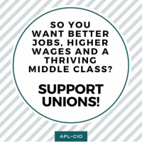 Memes, Jobs, and 🤖: SO YOU  WANT BETTER  JOBS, HIGHER  WAGES AND A  THRIVING  MIDDLE CLASS?  SUPPORT  UNIONS!  AFL-CIO