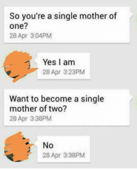 So you're a single mother of  one?  28 Apr 3:04PM  Yes I am  28 Apr 3:23PM  Want to become a single  mother of two?  28 Apr 3:38PM  No  28 Apr 3:38PM
