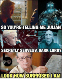 Memes, 🤖, and Dark: SO YOURE TELLING ME JULIAN  SECRETLY SERVES A DARK LORD?  Look HOWSURPRISEDIAM Spoiler Alert!