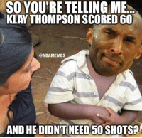 Kobe watching Klay's 60 point game like...: SO YOUTRE TELLING ME  KLAY THOMPSON SCORED 60  @NBAMEMES  AND HE DIDNT NEED50SHOTS Kobe watching Klay's 60 point game like...