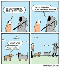 """Http, Com, and Via: SO, YOU'VE COME TO  TAKE ME WITH YOU?  NO, I'M ACTUALLY  JUST ENJOYING THE PARK.  WOOF WOOF  WOOF wo  WARANDPEAS.COM <p>Day at the park via /r/wholesomememes <a href=""""http://ift.tt/2zTZ4DM"""">http://ift.tt/2zTZ4DM</a></p>"""