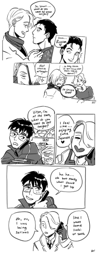 inknose: they have a top secret code but sometimes it backfires: So, yuuri...  what do you  want for dinner  twnijh+?  lussian  that  could be  ...J. thty think  We dort Know what  tyre t«lkin?  abouf?  altangedr  M GoNNA  BAeF  EKF   Vitya, I'm  at the stere,  what do you  Want to eat,e  l feel  ike ..  tonight?  /*Sonne  Japanese  ha ha...  ok but really  What Should  I get v  ike  want  oh, no,  l was  being  1 Some  Sushi  or smth inknose: they have a top secret code but sometimes it backfires