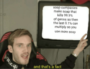 Facts: soap companies  make soap that  kills 99.9%  of germs so then  the last 0.1% can  multiply so you  use more soap  and that's a fact Facts
