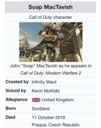 "Call of Duty Modern Warfare 2, Call of Duty, and Infiniti: Soap MacTavish  Call of Duty character  John ""Soap"" MacTavish as he appears in  Call of Duty: Modern Warfare 2  Created by Infinity Ward  Voiced by Kevin McKidd  Allegiance EE United Kingdom  Scotland  Born  Died  11 October 2016  Prague. Czech Republic RIP"