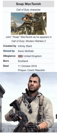 "Call of Duty Modern Warfare 2, Call of Duty, and Infiniti: Soap MacTavish  Call of Duty character  John ""Soap"" MacTavish as he appears in  Call of Duty: Modern Warfare 2  Created by Infinity Ward  voiced by Kevin McKidd  Allegiance United Kingdom  Born  Scotland  Died  11 October 2016  Prague. Czech Republic This can only be RTed today. R.I.P Soap"