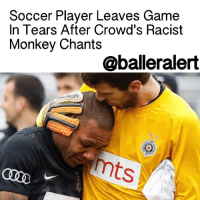 """England, Memes, and Monkey: Soccer Player Leaves Game  In Tears After Crowd's Racist  Monkey Chants  @balleralert  mts Soccer Player Leaves Game In Tears After Crowd's Racist Monkey Chants - blogged by: @eleven8 ⠀⠀⠀⠀⠀⠀⠀⠀⠀ ⠀⠀⠀⠀⠀⠀⠀⠀⠀ EvertonLuiz joined Partizan's Serbian soccer team last year and was recently met with so much racism that he couldn't contain himself. Luiz, who is Brazilian, was subjected to monkey chants by fans, racist remarks and a racist banner hanging from the stands. The banner was only removed after referees intervened and made the fans take it down. ⠀⠀⠀⠀⠀⠀⠀⠀⠀ ⠀⠀⠀⠀⠀⠀⠀⠀⠀ Though his team beat Rad 1-0, the emotional abuse Luiz endured during the game led the player to flip the middle finger towards Rad fans. In turn, some of the players from the Rad team confronted him and a fight broke out. In tears, Luiz was left the field. ⠀⠀⠀⠀⠀⠀⠀⠀⠀ ⠀⠀⠀⠀⠀⠀⠀⠀⠀ """"I couldn't hold back the tears because I was racially insulted from the stands for 90 minutes,"""" said Luiz, 28. ⠀⠀⠀⠀⠀⠀⠀⠀⠀ ⠀⠀⠀⠀⠀⠀⠀⠀⠀ Rad supporters are known for their nationalist ultra-right behavior. Because of the fans' crude behavior, the Serbian Football Association suspended Rad's stadium in Belgrade until further notice. This means there will be no home games for Rad. ⠀⠀⠀⠀⠀⠀⠀⠀⠀ ⠀⠀⠀⠀⠀⠀⠀⠀⠀ """"My family and I feel at home in Serbia and this is why I could not stop the tears after the game,"""" he said. """"I took 90 minutes of racist abuse and other insults from the terraces and thereafter I found myself in a cauldron of emotionless individuals who charged at me when they should have protected me. I want to forget this, refocus on football and urge everyone to say 'No' to racism."""" ⠀⠀⠀⠀⠀⠀⠀⠀⠀ ⠀⠀⠀⠀⠀⠀⠀⠀⠀ This hasn't been the first racist soccer scandal involving Serbian fans. In 2012, black players on England's teams were subjected to racist chants and monkey noises."""