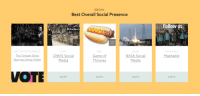 """<h2><b>Thank you to everyone who has voted for us in The Webby Awards!</b></h2><figure class=""""tmblr-full"""" data-orig-height=""""324"""" data-orig-width=""""450""""><img src=""""https://78.media.tumblr.com/64ac8d41f838d37f4408fcbc60cc2390/tumblr_inline_o5mw32Ev5X1qgt12i_500.gif"""" data-orig-height=""""324"""" data-orig-width=""""450""""/></figure><h2>Voting ends April 22nd, so if you feel like casting some votes here's where to do it:<br/><a href=""""https://pv.webbyawards.com/2016/social/features/best-overall-social-presence"""" target=""""_blank"""">- Best Overall Social Presence<br/></a><a href=""""https://pv.webbyawards.com/2016/online-film-video/video-channels-and-networks/entertainment"""" target=""""_blank"""">- Online Film &amp; Video: Entertainment<br/></a><a href=""""https://pv.webbyawards.com/2016/social/social-content-and-marketing/entertainment"""" target=""""_blank"""">- Social: Entertainment</a></h2>: SOCIAL  Best Overall Social Presence  Follow us  #Underc  NBC ENTERTAINMENT  The Tonight Show  Starrina Jimmy Fallorn  CNN  CNN'S Social  Media  HBO  Game of  Thrones  NASA  NASA Social  Media  MASHABLE  Mashable  VOTE  VOTE  VOTE  VOTE <h2><b>Thank you to everyone who has voted for us in The Webby Awards!</b></h2><figure class=""""tmblr-full"""" data-orig-height=""""324"""" data-orig-width=""""450""""><img src=""""https://78.media.tumblr.com/64ac8d41f838d37f4408fcbc60cc2390/tumblr_inline_o5mw32Ev5X1qgt12i_500.gif"""" data-orig-height=""""324"""" data-orig-width=""""450""""/></figure><h2>Voting ends April 22nd, so if you feel like casting some votes here's where to do it:<br/><a href=""""https://pv.webbyawards.com/2016/social/features/best-overall-social-presence"""" target=""""_blank"""">- Best Overall Social Presence<br/></a><a href=""""https://pv.webbyawards.com/2016/online-film-video/video-channels-and-networks/entertainment"""" target=""""_blank"""">- Online Film &amp; Video: Entertainment<br/></a><a href=""""https://pv.webbyawards.com/2016/social/social-content-and-marketing/entertainment"""" target=""""_blank"""">- Social: Entertainment</a></h2>"""