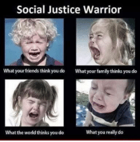 Memes, 🤖, and Warrior: Social Justice Warrior  What your friends think you do  What your family thinks you do  What you really do  What the world thinksyoudo